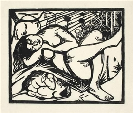 Artwork by Franz Marc, SCHLAFENDE HIRTIN, Made of Woodcut on Japan paper