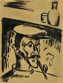 Artwork by Max Pechstein, FISCHER MIT PFEIFE UND HUT, Made of Brush and India ink on brownish paper, laid down on paper