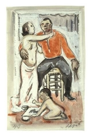 Artwork by Max Pechstein, ATELIERSZENE, Made of Watercolour and opaque white over pencil on paper