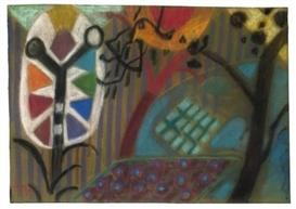 Artwork by Ida Kerkovius, VOGEL IM GARTEN, Made of Pastel on flock coated paper on paper on plywood