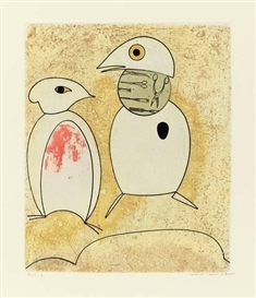 Artwork by Max Ernst, PORTFOLIO OF 8 WORKS: DOROTHEA TANNING: OISEAUX EN PÉRIL, Made of colour aquatints with etching and collage