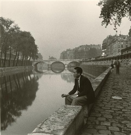 Artwork by Louis Stettner, BY THE SEINE, PONT ST. MICHEL, Made of Gelatin silver print on Agfa paper