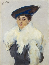 Artwork by Max Slevogt, FRAU LEWIN (BILDNIS HELEN KOSLOWSKY-LEWIN), Made of Oil on canvas