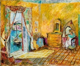 Artwork by Hans Purrmann, INTERIEUR, PORTO D'ISCHIA, Made of Oil on canvas