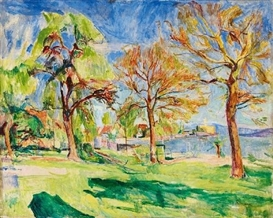 Artwork by Hans Purrmann, BODENSEELANDSCHAFT MIT SCHLOSS MONTFORT, Made of Oil on canvas