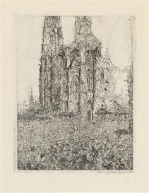 Artwork by James Ensor, LA CATHÉDRALE, Made of Etching on firm Japan paper