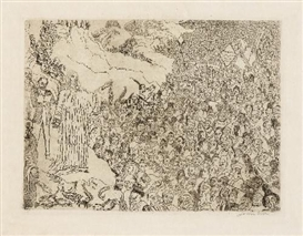 Artwork by James Ensor, LA MULTIPLICATION DES POISSONS, Made of Etching on firm simili Japan