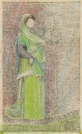 Artwork by Johannes Itten, DIE NEOPHYTIN, Made of Oilstick and pencil on laid paper