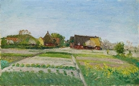 Artwork by Otto Modersohn, 2 WORKS: FELDER BEI FISCHERHUDE & VERSO, COMMENCED STUDY: FISCHERHUDER HOFPLATZ, Made of Oil on painter's board