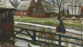 Artwork by Otto Modersohn, 2 WORKS: FISCHERHUDER DORFSTRAßE IM WINTER & VERSO: FELDER IM FRÜHJAHR, Made of Oil on canvas