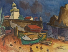 Artwork by Ernst Mollenhauer, PORT VENDRES, Made of Oil and carpenter's pencil on cream-coloured laid paper