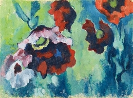 Artwork by Heinrich Nauen, ROTER UND BLAßVIOLETTER MOHN VOR BLAUGRÜNEM GRUND, Made of Tempera on fibrous Japan paper