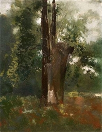 Artwork by Odilon Redon, L'ARBRE, Made of Oil on paper mounted onto card