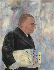 Artwork by Ben Shahn, Portrait of Jean-Paul Sartre, Made of casein and gouache on paper laid down on board