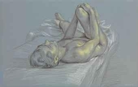 Artwork by Paul Cadmus, Study of a Reclining Nude, Made of charcoal and pastel on paper