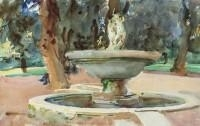 Artwork by John Singer Sargent, Fontana dei Pupazzi, Villa Borghese, Rome, Made of watercolor, pencil and gouache on paper