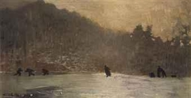 Artwork by Winslow Homer, Skating, Made of oil on canvas
