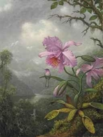 Artwork by Martin Johnson Heade, Hummingbird Perched on the Orchid Plant, Made of oil on canvas