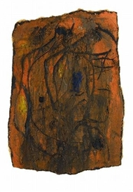 Artwork by Emil Schumacher, G-24/1958, Made of Mixed media on bitumen cardboard with irregular margins