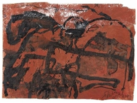 Artwork by Emil Schumacher, GC-26/1989, Made of Gouache on two brown packing papers
