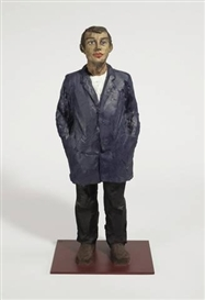 Artwork by Stephan Balkenhol, MANN MIT BLAUER JACKE, Made of Bronze, painted