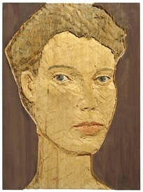 Artwork by Stephan Balkenhol, KOPFRELIEF, Made of Wawa-wood, painted