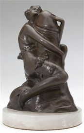 Artwork by Bruno Zach, The Hugger, Made of Bronze, white alabaster