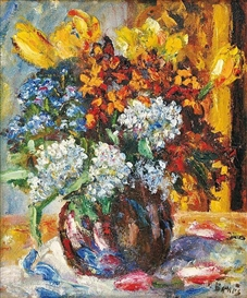 Artwork by Vincenc Benés, Still life with flower, Made of oil on fibreboard