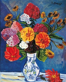 Artwork by Vincenc Benés, Flower of phlox and dahlias, Made of oil on canvas