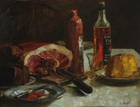 Max Slevogt, Still life with ham and schnapps