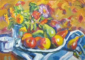 Artwork by Vincenc Benés, Still life with fruit and flowers, Made of oil on cardboard