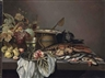 Pieter Claesz, Peaches and a  roemer  on a pewter platter, a basket of grapes and and other fruit, a wooden barrel, a lobster, a crab, oysters and fish with a cat on a stone ledge