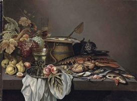 Artwork by Pieter Claesz, Peaches and a roemer on a pewter platter, a basket of grapes and and other fruit, a wooden barrel, a lobster, a crab, oysters and fish with a cat on a stone ledge, Made of oil on canvas