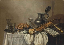 Artwork by Pieter Claesz, A roemer , a wineglass, a crab and a bread roll on pewter plates, a lute, violin and flute, on a partly draped table, Made of oil on canvas