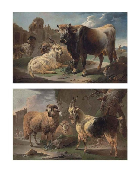 Philipp Peter Roos A Pair A Bull Goat Ram And Sheepdog Before Ruins In A Rocky Landscape And A Sheep And A Goat With A Horseman Beyond In A Rocky Landscape