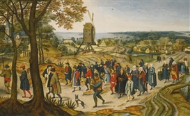 Artwork by Pieter Brueghel the Younger, A WEDDING PROCESSION, Made of Oil on panel