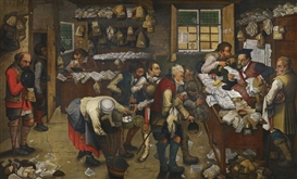 Artwork by Pieter Brueghel the Younger, THE VILLAGE LAWYER'S OFFICE, Made of Oil on panel