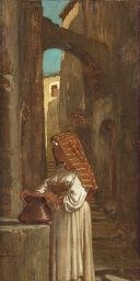 Artwork by Elihu Vedder, AT THE WELL, Made of oil on canvas laid on board