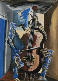 Artwork by Ossip Zadkine, LE MUSICIEN BLEU, Made of gouache on paper