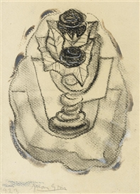 Artwork by Juan Gris, NATURE MORTE AU VASE DE ROSES, Made of pen and ink, charcoal and gouache on paper