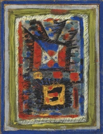 Artwork by Roger Bissière, Composition 32 (Deux Carrés), Made of egg painting on paper mounted on panel