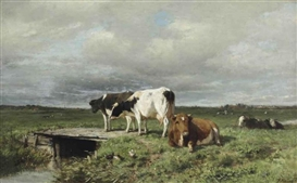 Artwork by Anton Mauve, Cattle in an extensive polder landscape, Made of oil on canvas