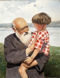 Artwork by Christian Krohg, Bestefars Gutt, Made of Oil on canvas