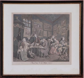 Artwork by William Hogarth, Group Of Six Prints From The Series Marriage A La Mode, Made of hand-colored engravings