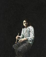 Artwork by Kurt Henning Trampedach Sørensen, Selvportræt. Siddende med pense (Self portrait. Seated with brush)., Made of Oil on canvas