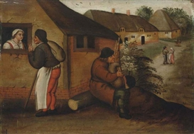 Artwork by Pieter Brueghel the Younger, A bagpipe player and a wayfarer in a village, Made of oil on panel