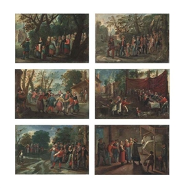 Pieter Brueghel the Younger, The Procession of the Bride; The Procession of the Groom; The Wedding Dance; The Wedding Feast; The Wedding Games; and The Blessing of the Marriage Bed