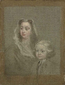 Artwork by William Hogarth, Head study of a lady with her son, Made of oil on canvas