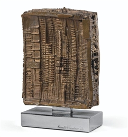 Artwork by Arnaldo Pomodoro, STUDIO, Made of bronze with golden patina
