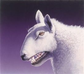 Artwork by Gottfried Helnwein, Wolf im Schafspelz, Made of mixed media on paper